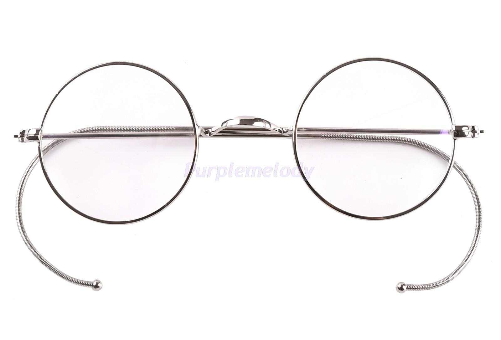 7db859c0e2a 39mm Small Round Optical Rare Wire Rim Prescription Eyeglasses Frame  Antique Kids Children s