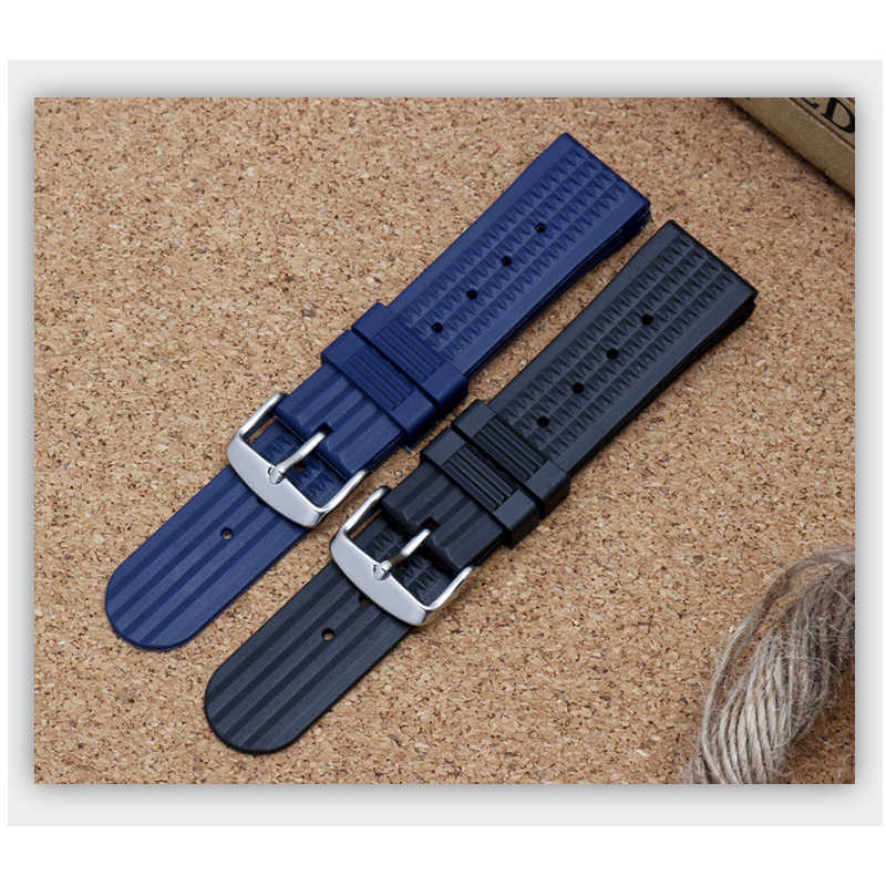 Luxury Brand Soft Rubber silicone Watch band 20mm 22mm Black Blue Watchband Bracelet For navitimer/avenger/Breitling strap
