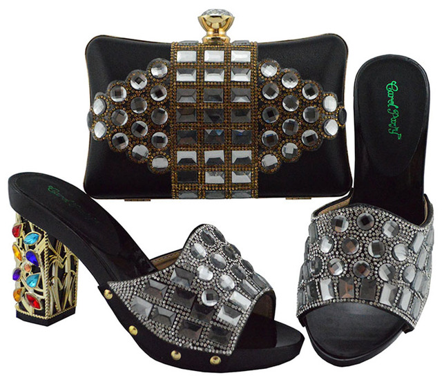 Black Color Italian Shoe with Matching Bags High Quality African Shoe and Bag Set for Party In Women Nigerian Shoes FGT003