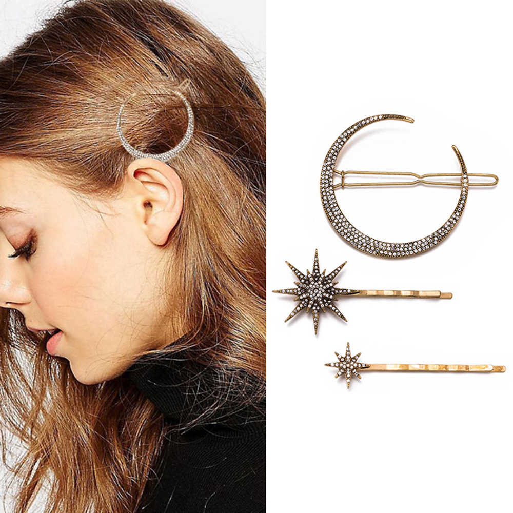 2019 Hot Fashion Geometric Star Moon Rhinestone Hair Grip Hairpin Hair Accessories Women Hair Clip Jewelry Accessories