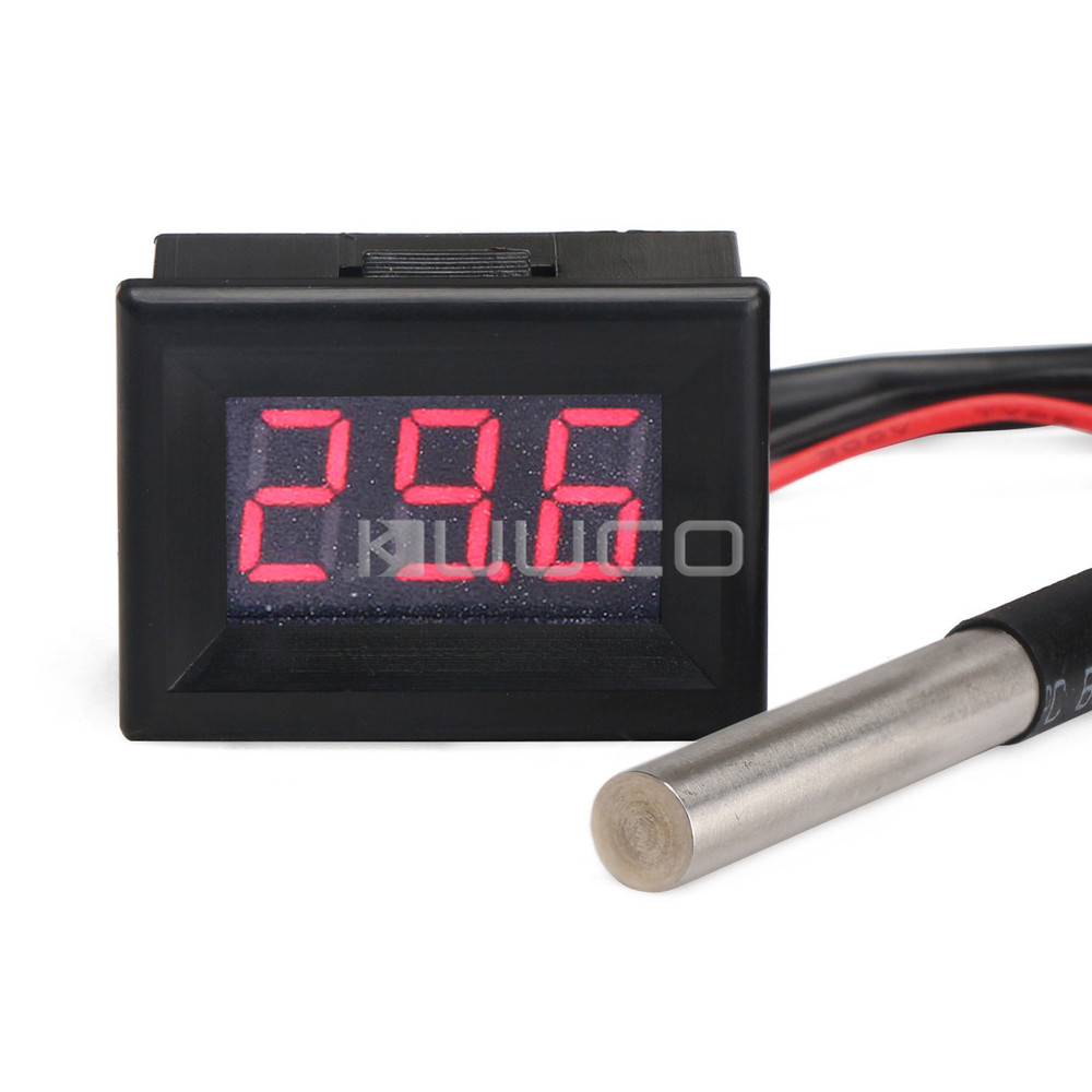Temperature Meter -55~125 Celsius Red Led Digital Thermometer DC 12V 24V Temperature Tester  for Car/Outdoor/Indoor etc 55 125 celsius degrees red led digital car thermometer temperature meter ds18b20 sensor page 1