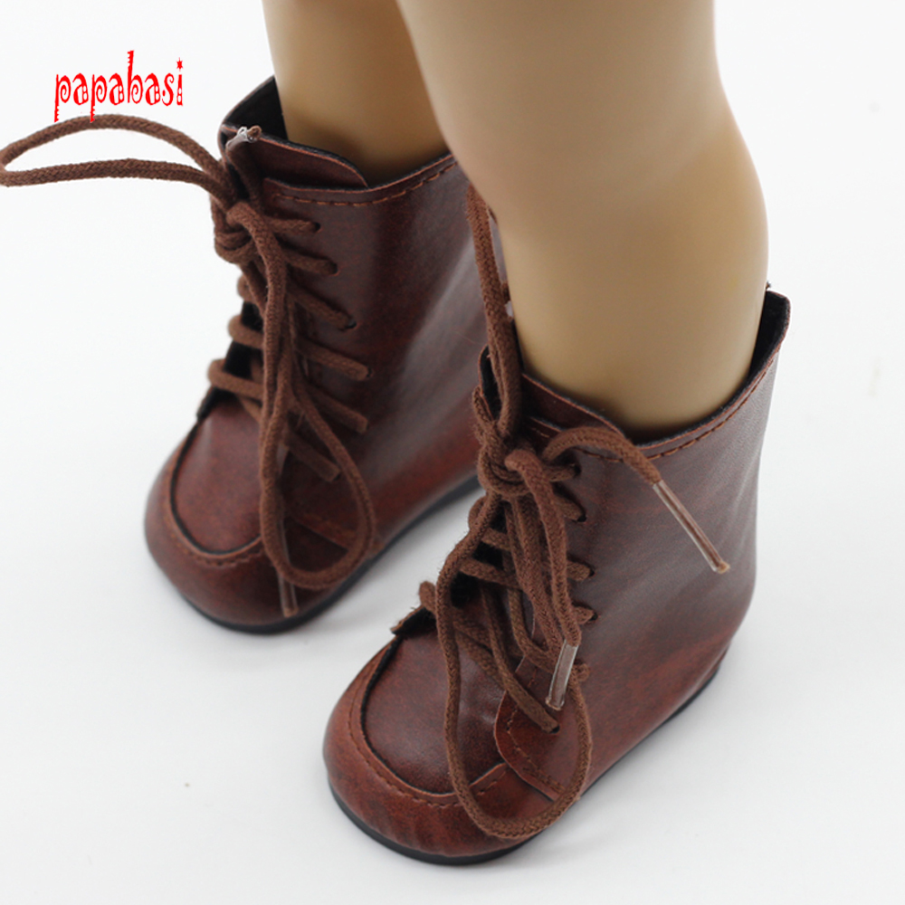 1pair Brown Doll Boot Fits For 18inch American girl Dolls Shoes, high heels children Best gift toy
