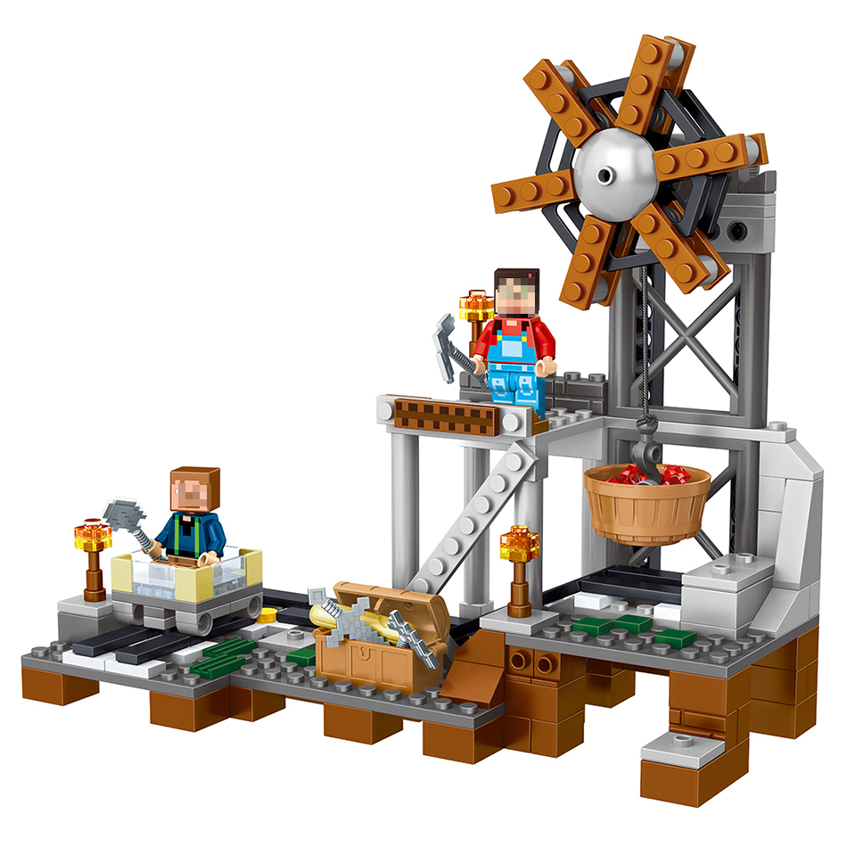 261pcs my world minecrafted model building blocks mine equipment compatible with legoe kids bricks mini action