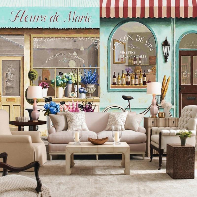 custom 3d wallpaper paris coffee shop street view