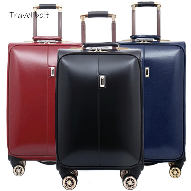 high quality 100% PU Leather Rolling Luggage Spinner Men Business Suitcase Wheels 16 inch Carry On Password Travel Bags Trelloy