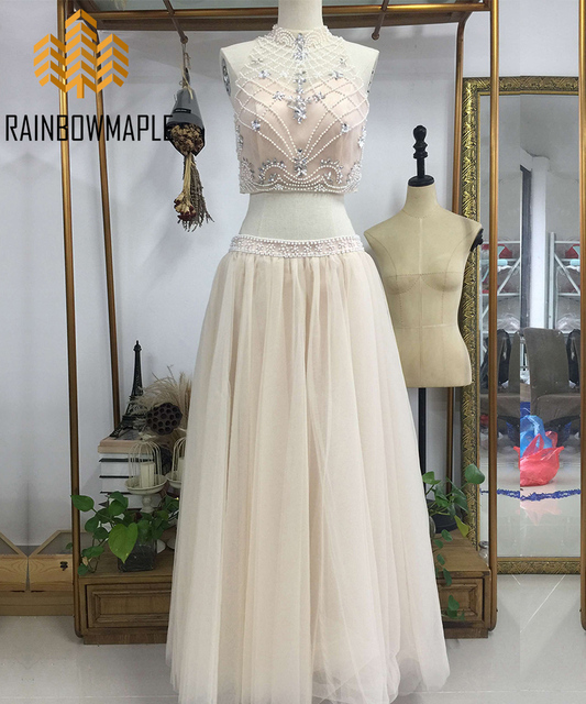 Sweet High Neck Two Pieces Long Homecoming Party Dresses Champagne Tulle  Pearls Beaded Bodice 2 Piece Long Prom Dress For Junior 97b9cf658
