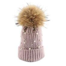 2018 New Wool Beanies Women Real Fur Pom Poms Beanie Fashion Pearl Knitted Hat Girls Female Cap Pompom Winter Hats For Women