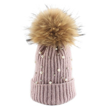 Pearl Wool Beanie Womens Winter Hat Pom Poms Fashion Knitted Hat Girls Female Beanie Cap Real Fur Pompom Winter Hats For Women double real raccoon fur hat pom poms winter hat women wool knit beanie bobble cap pompom beanies gorros thick female caps w1