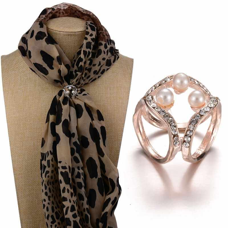 Semplice di modo di perle di cristallo a tre cerchio sciarpa delle signore fibbia fibbia quadrata per le donne