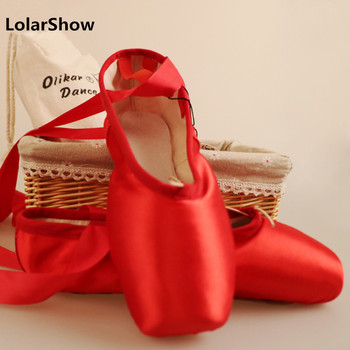 Red Ballet Dance Shoes Women Girl's Ballet Pointe Shoes  Satin Dance Shoes