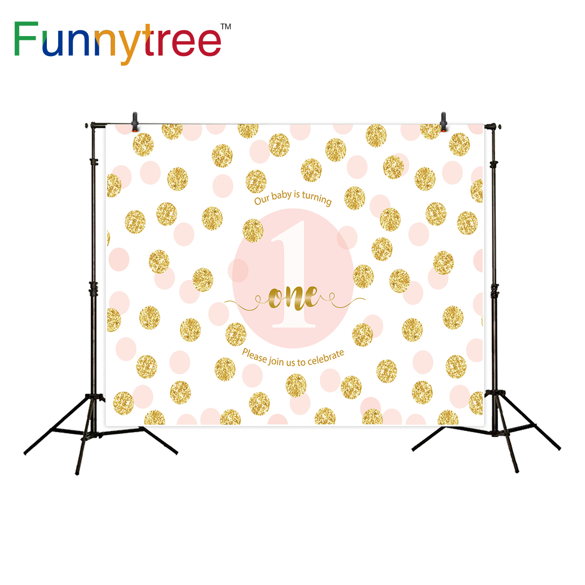 Funnytree background for photo studio gold pink dots princess one year old birthday celebration backdrop photography photobooth
