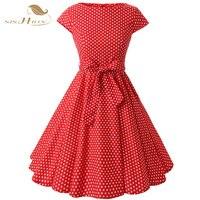SISHION Sommer Polka Dot Kleid Audrey Hepburn Vestido Flügelärmeln Red Midi Große Schaukel 50 s Vintage Kleider XXL Plus Größe VD0231