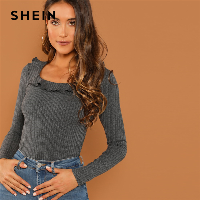 SHEIN Modern Lady Grey Slim Fit Scoop Neck Ruffle Scoop Neck Ribbed Pullovers T-shirt 2018 Autumn Campus Women Tshirt Top