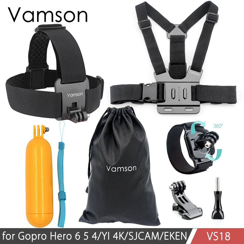 Vamson Chest Strap Floaty Bobber Monopod Head Belt Mount For Gopro Hero 5 4 3 For SJCAM for Xiaomi Camera Accessories VS18