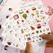 6 шт. декоративные наклейки Molang с мультяшным Кроликом, стикеры для мобильных телефонов, Канцелярские Стикеры для альбомов, материал Escolar Kawaii
