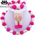 Conjunto africano de la joyería de moda Rosa Fucsia Plástico blanco y Coral WIN012 nigeriano boda perlas africanas joyería conjunto Envío gratis