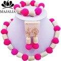 Moda jóias conjunto africano Fúcsia de Plástico Cor De Rosa e branco Coral WIN012 nigerianos casamento beads africanos jóias set Frete grátis