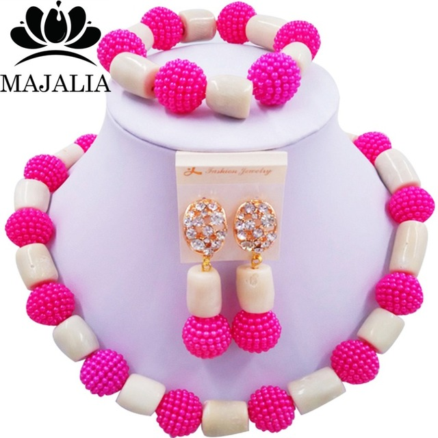 Trendy african jewelry set Fuchsia Pink Plastic and white Coral nigerian wedding african beads jewelry set Free shipping  WIN012