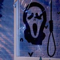 Crânio Halloween parede adesivos de parede decoração, Parede do dia das bruxas decalque fantasma janela adesivos de vidro