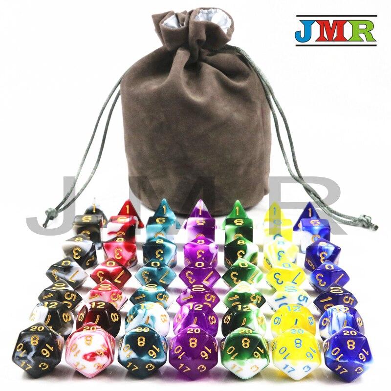 Лучшая цена для 7 компл. из прозрачного Mix непрозрачная Цвет многогранник Rpg Dnd игровые кости с высокое качество Портативный сумка для игры