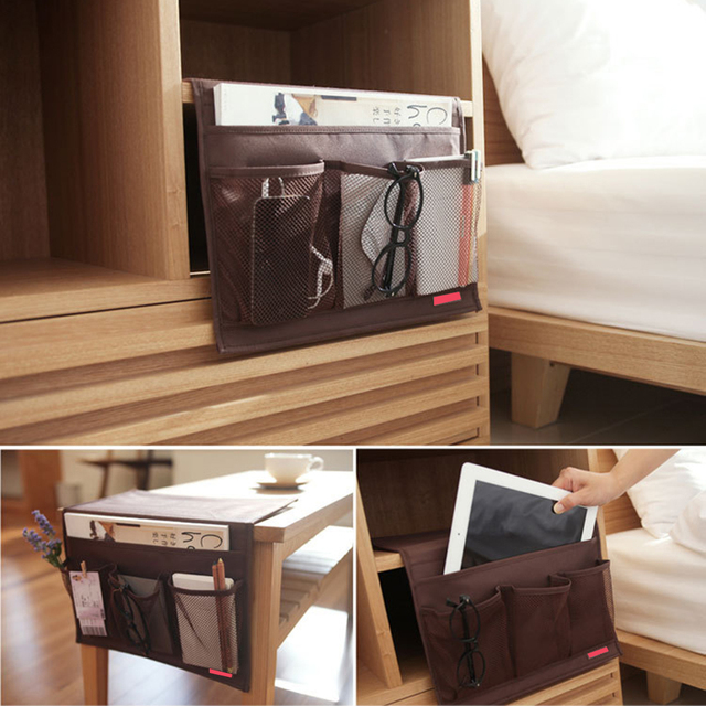 Oxford Cloth Sofa Bed Side Storage Bag Tv Remote Control Holder Organizer Phone Pouch Home
