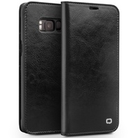 QIALINO For Galaxy S8 Case Classic Genuine Cowhide Leather Cell Phone Case For Samsung Galaxy S8