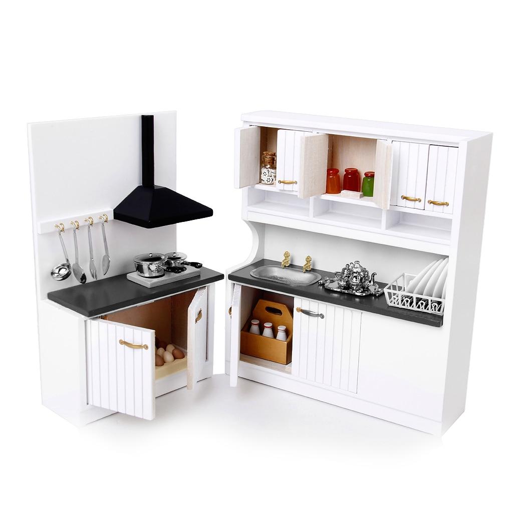 1 12 Scale Dollhouse Furniture Wooden Kitchen Set Pretend Play 1 12