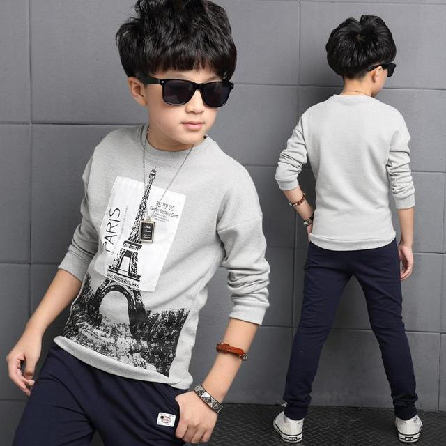 Childrens T-Shirts For Boys Clothing 4 Cotton Long Sleeve Boys Tees 6 Pattern Tops 8 School Uniform 10 Kids Clothes 12 14 Years