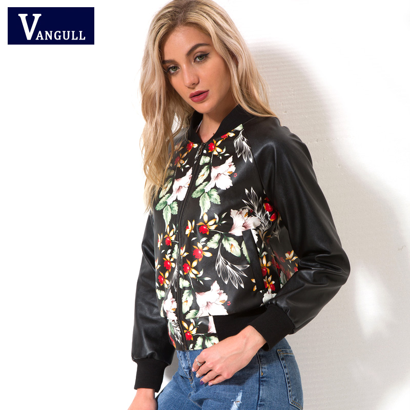 New style Fashion Design Women Jacket 2018 Spring Autumn Printing floral Women's clothes PU Leather Long Sleeve Coat  Lady Tops