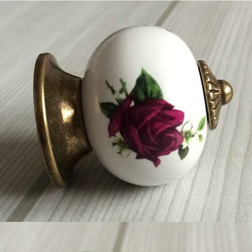 Rustico vintage rural ceramic furniture knob rose porcelain drawer cabinet knob bronze dresser cupboard door pull antique handle серверный корпус 2u supermicro cse 825tq 600lpb 600 вт чёрный