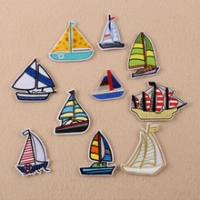 dc1eaa052958c New arrival 10 pcs colorful sailing boats embroidered Iron On Patches bag  hat shoe clothes phone