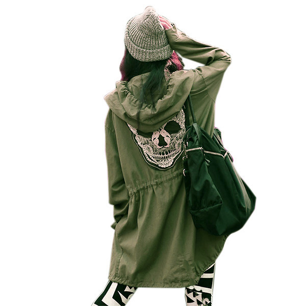 Women Back Skull Army Green Jacket Loose Hooded Coat Outwear