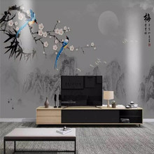 Professional production wallpaper mural ink landscape water plum magpie flower background wall cloth thickening