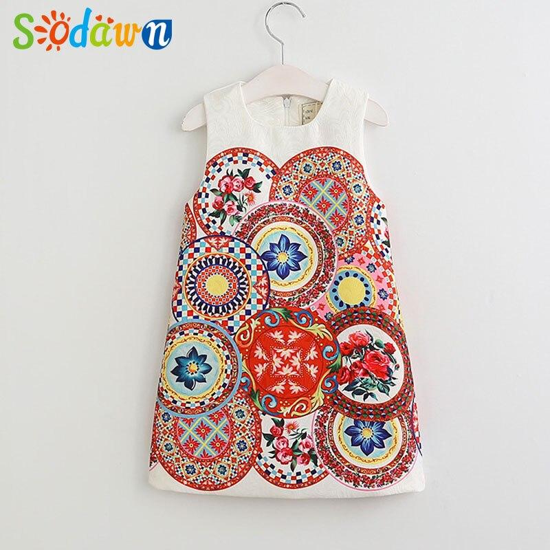 Sodawn Girls Clothing Classical Printing Girl Jacquard Vest Dress Summer Style Girls Dress Children Clothes New Kids Dress