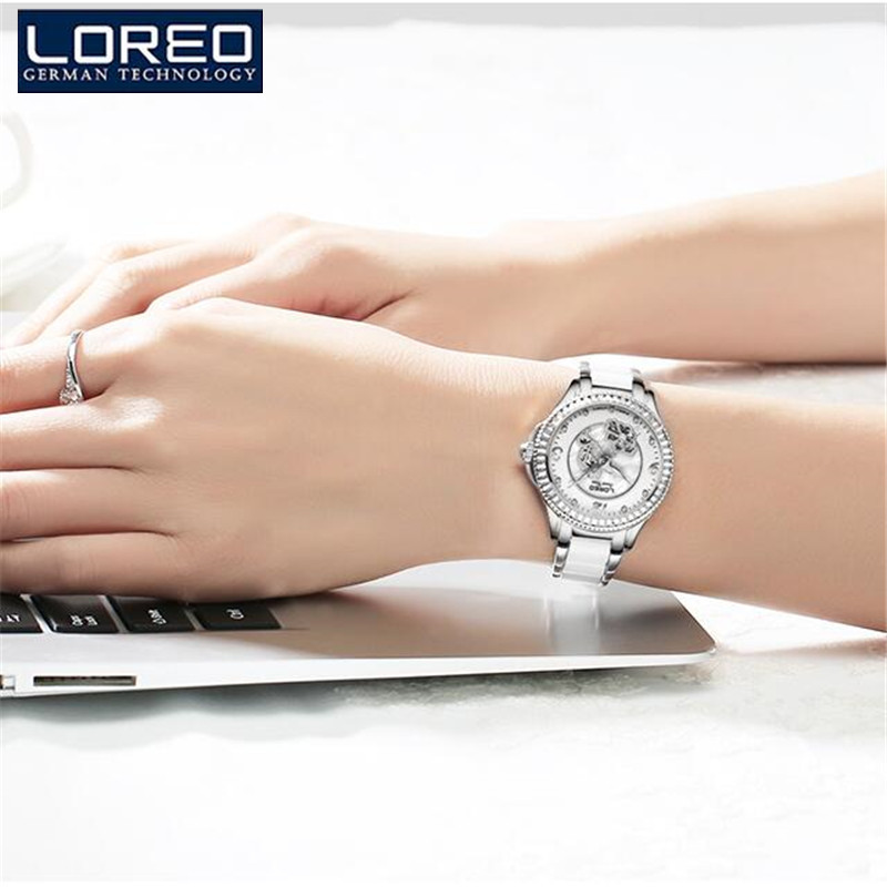 LOREO Women Casual Watches Ladies Wrist Watch Gold Bracelet Simulated Ceramic Dress Diamond Quartz-watch relogio feminino K49 free shipping kezzi women s ladies watch k840 quartz analog ceramic dress wristwatches gifts bracelet casual waterproof relogio