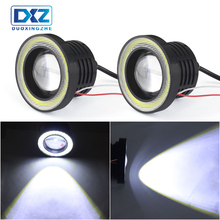 2pcs Angel Eyes Fog Lamp 64mm 76mm 89mm 12V Universal COB LED DRL Driving Lights white blue pink yellow green red ice