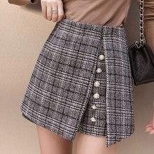 2019 de lana pantalones cortos de cintura alta de mujeres botón falda a  cuadros pantalones cortos harajuku irregular señoras pan. 5d0ec854c325