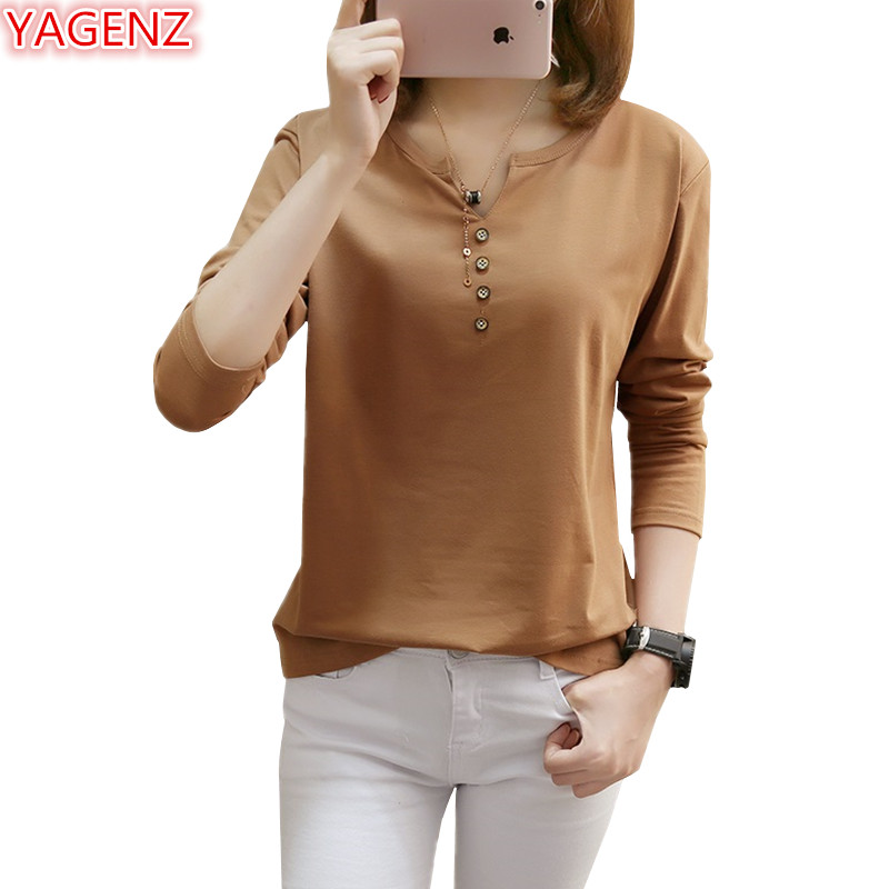 YAGENZ Fashion Spring Autumn Womens T-shirt Tops Plus size 5XL Loose Casual