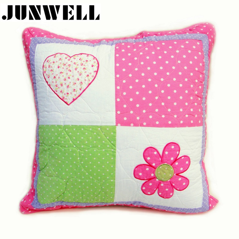 100% Cotton Quilted Cushion Floral Applique Embroidery Reversible <font><b>Pillow</b></font> Sofa Office Back Cushion Baby Room <font><b>Decorative</b></font> <font><b>50X50CM</b></font> image