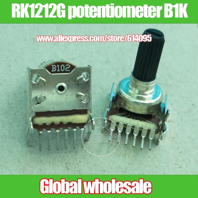 2 pcs B102 RK1212G horizontal duplo potenciômetro B1K/handle comprimento 16mm/knurled shaft