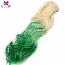 """Neverland 20 """"7 шт./компл. 16 клип целую голову волнистые синтетические парики зеленый Ombre Высокая температура волокна клип в волосы расширения"""