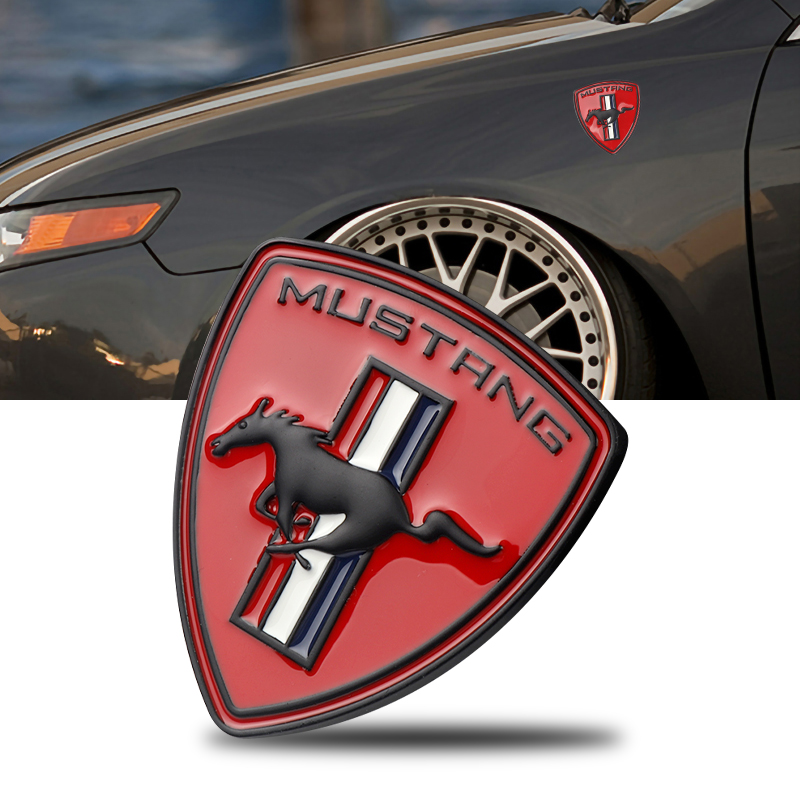3D Car Styling Metal Chrome Car Sticker Emblem Running Horse Badge Decoration For Ford Mustang Shelby GT Car Accessories