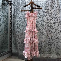 High Quality Strap Dress 2020 Summer Fashion Style Ladies Sweet Flower Print Cascading Ruffle Midi Party Club Dress Casual Beach