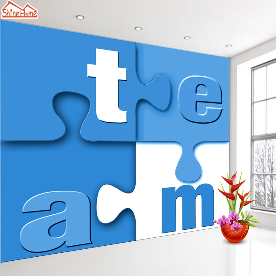 ShineHome-Team Letter Blocks Wallpapers 3d Kids Room Wallpaper for Walls 3 d Living Room Wall Paper Murals Wallpaper Mural Roll custom 3d ceiling wallpaper white polygon brick wall wallpaper for walls 3 d ceiling murals wallpapers for living room