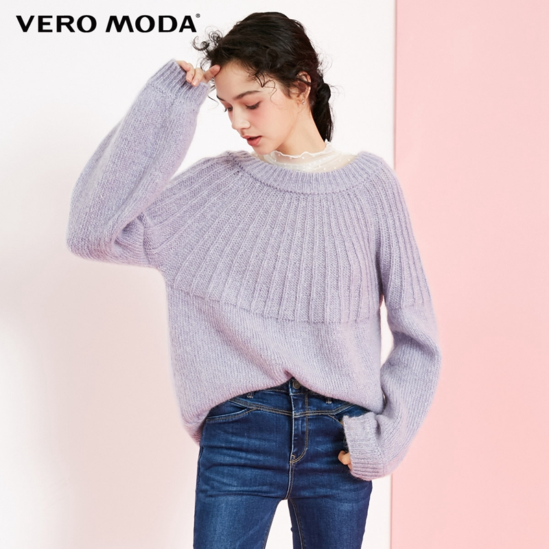 1d2e5f4f82d CHEAP Vero Moda 2019 new 30% wool openwork lace-up sleeve sweater ...