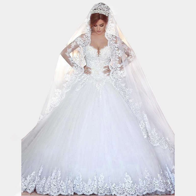 Vintage Long Sleeves Lace Wedding Dress 2016 Ball Gown Princess font b Hijab b font Muslim