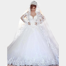 Vintage Long Sleeves Lace Wedding Dress 2016 Ball Gown Princess Hijab Muslim Romantico Bridal Wedding Gown Robe De Mariage