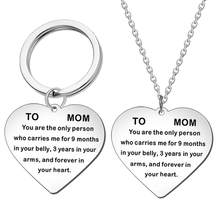English Letter To Mom Love Heart Pendant Chain Keychain Key Ring Gift New(China)