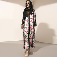 New 2017 Fashion Runway Maxi Dress Long Sleeve Women High Split Lace Patchwork Rose Floral Print
