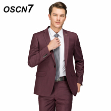 OSCN7 Wool Wine Red Tailor Made Suit Men Fashion Wedding Dress Mens Suits Plus Size Casual Custom Made Suits 4465-28